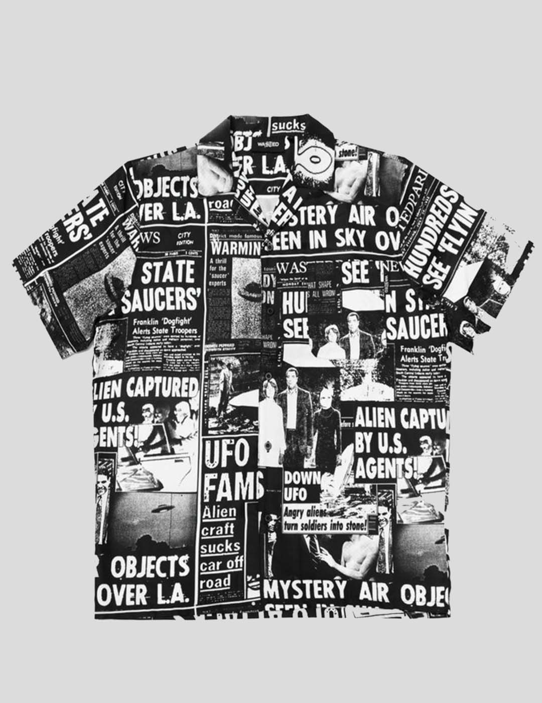 CAMISA WASTED PARIS ROSWELL ALLOVER SHIRT BLACK WHITE