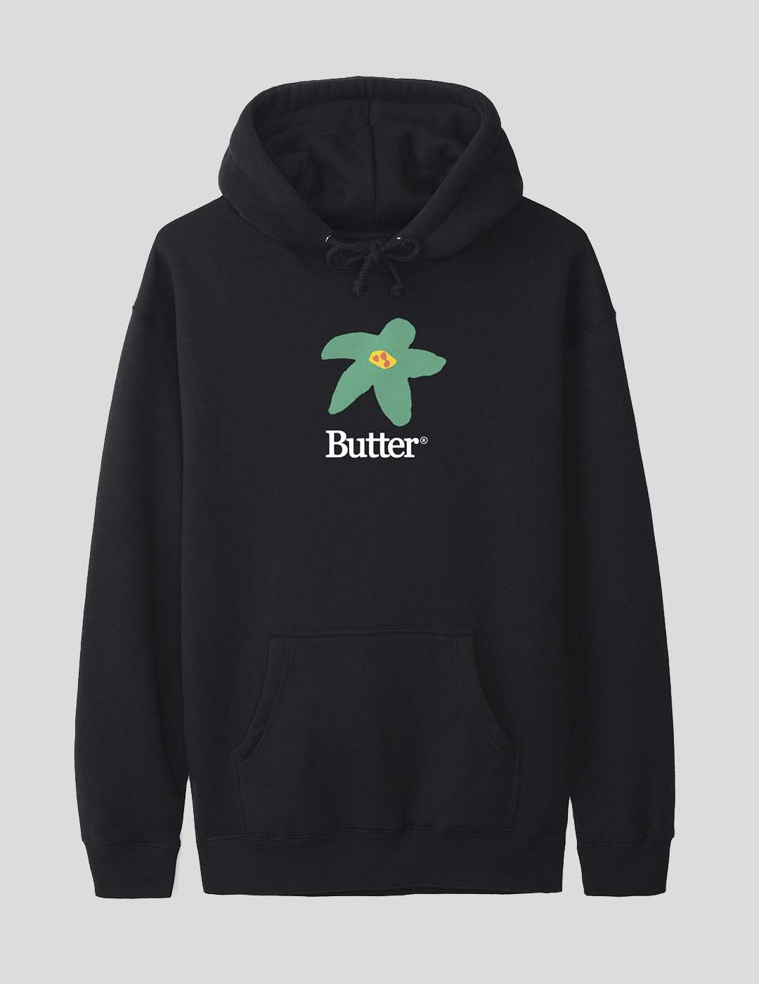 SUDADERA BUTTER GOODS FLOWERS HOODIE BLACK