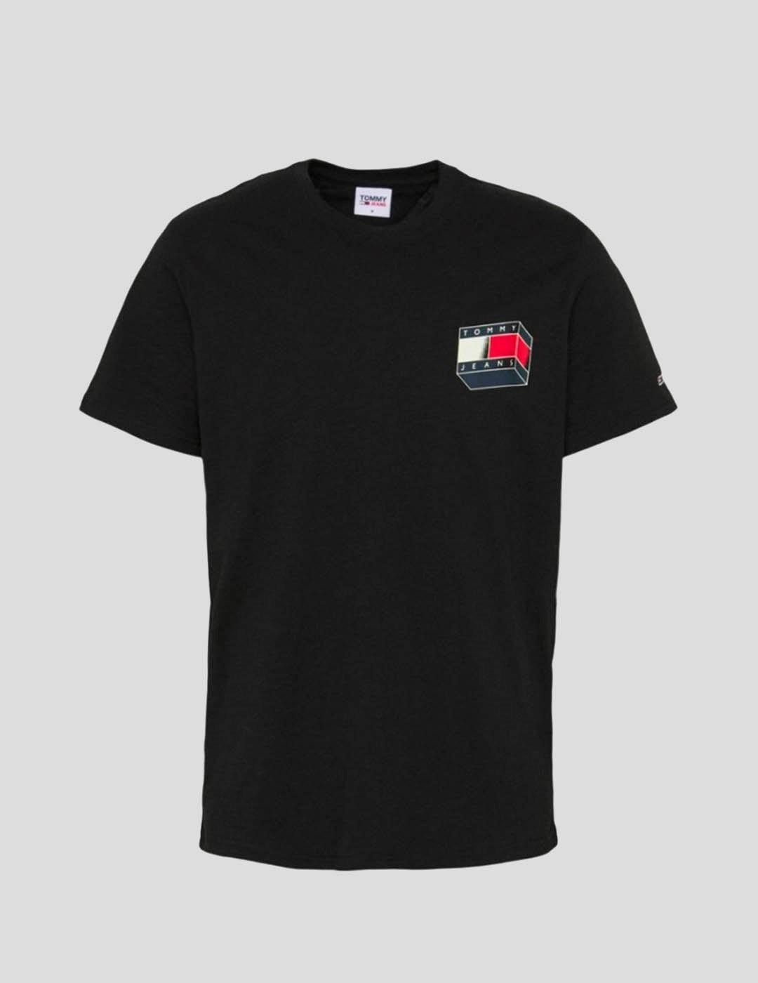 CAMISETA TOMMY JEANS 3D GLOW FLAG GRAPHIC TEE BLACK