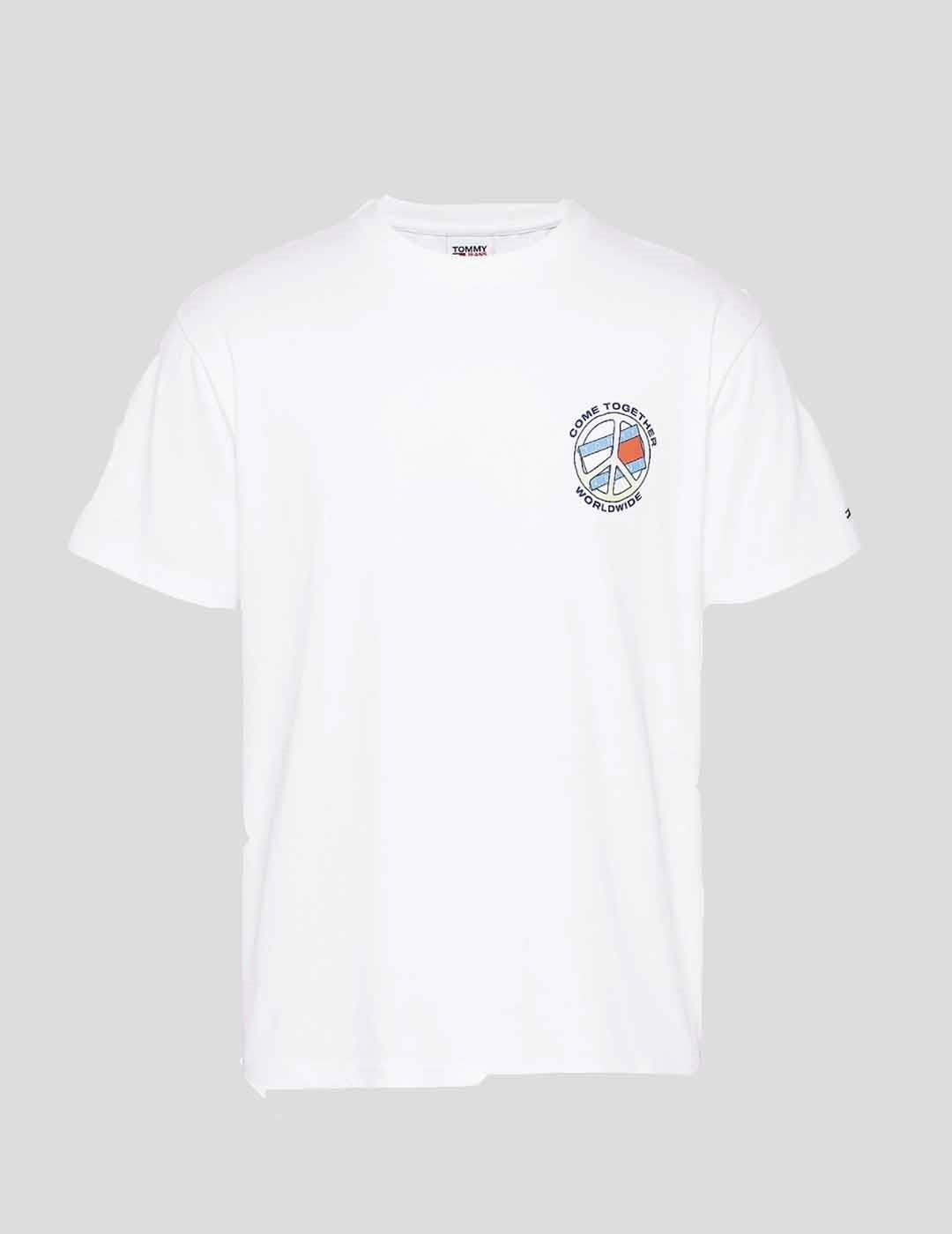 CAMISETA TOMMY JEANS TOGETHER WORLD PEACE TEE WHITE