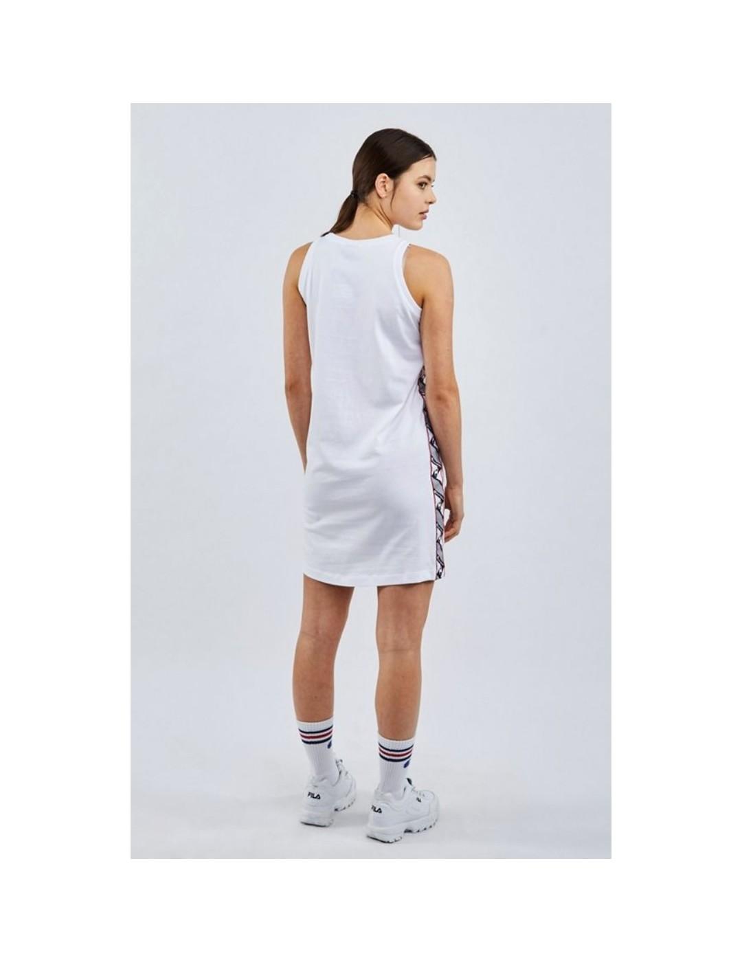 VESTIDO CHAMPION  JACQUARD LOGO TAPE TANK DRESS WHITE