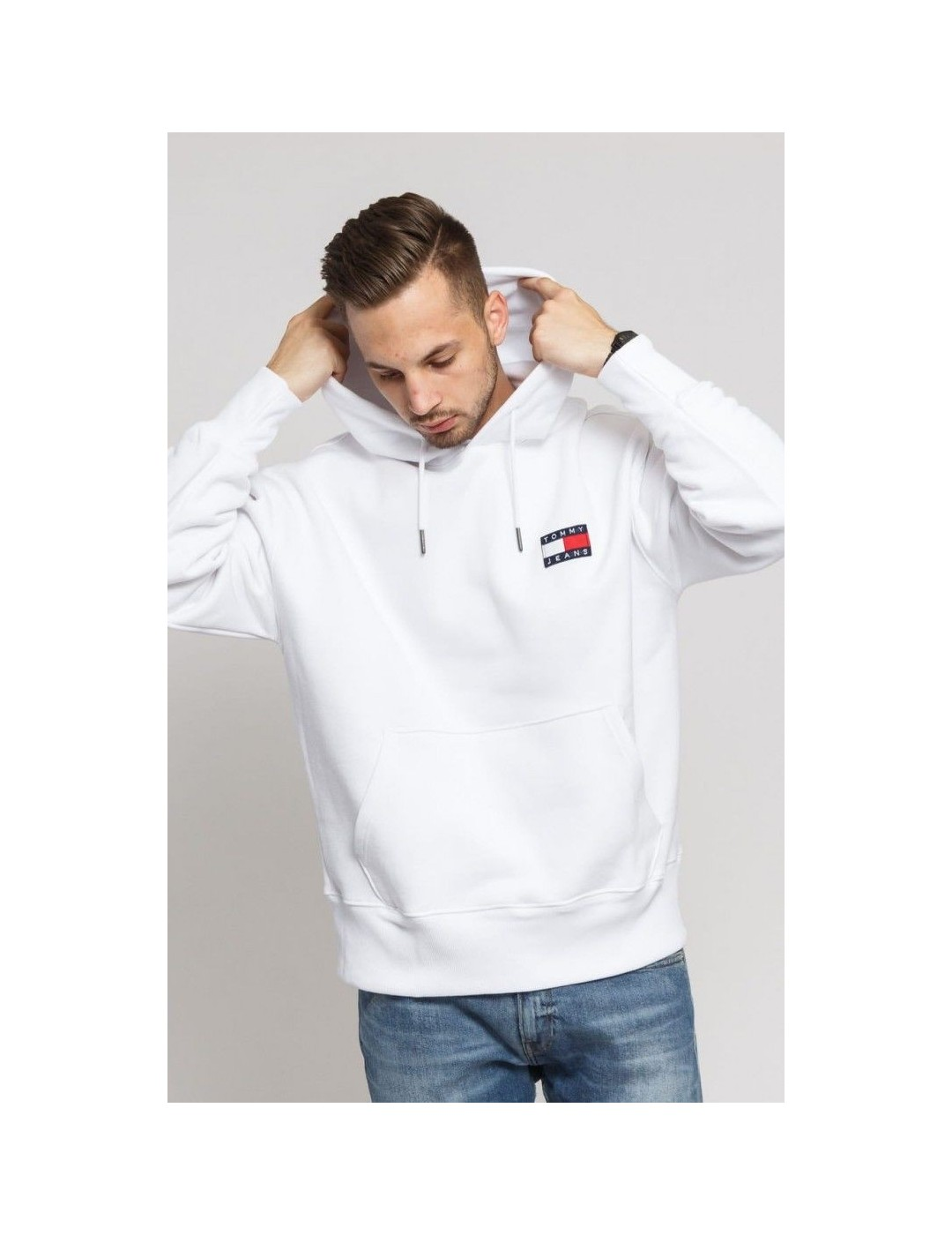 SUDADERA TOMMY JEANS TOMMY BADGE HOODIE CLASSIC WHITE
