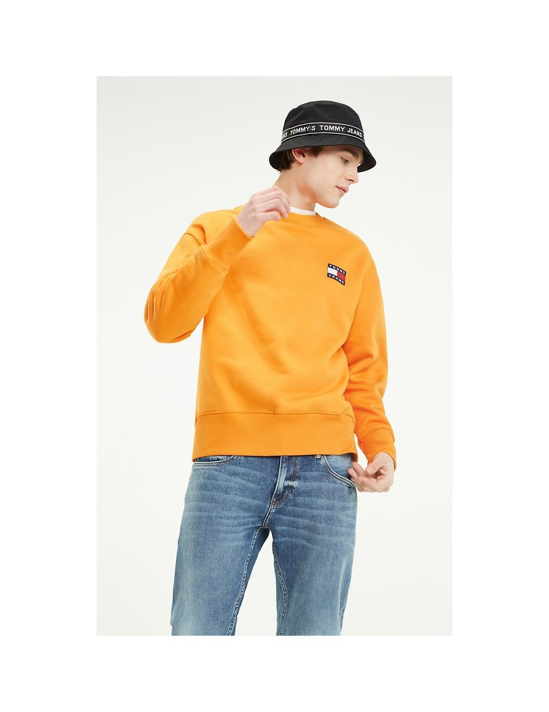 SUDADERA TOMMY JEANS TOMMY BADGE CREW RUSSET ORANGE