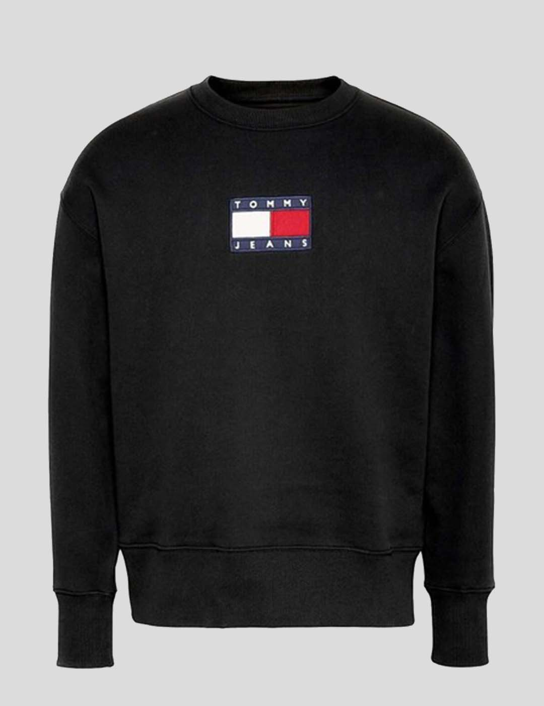 SUDADERA TOMMY JEANS SMALL FLAG CREW BLACK