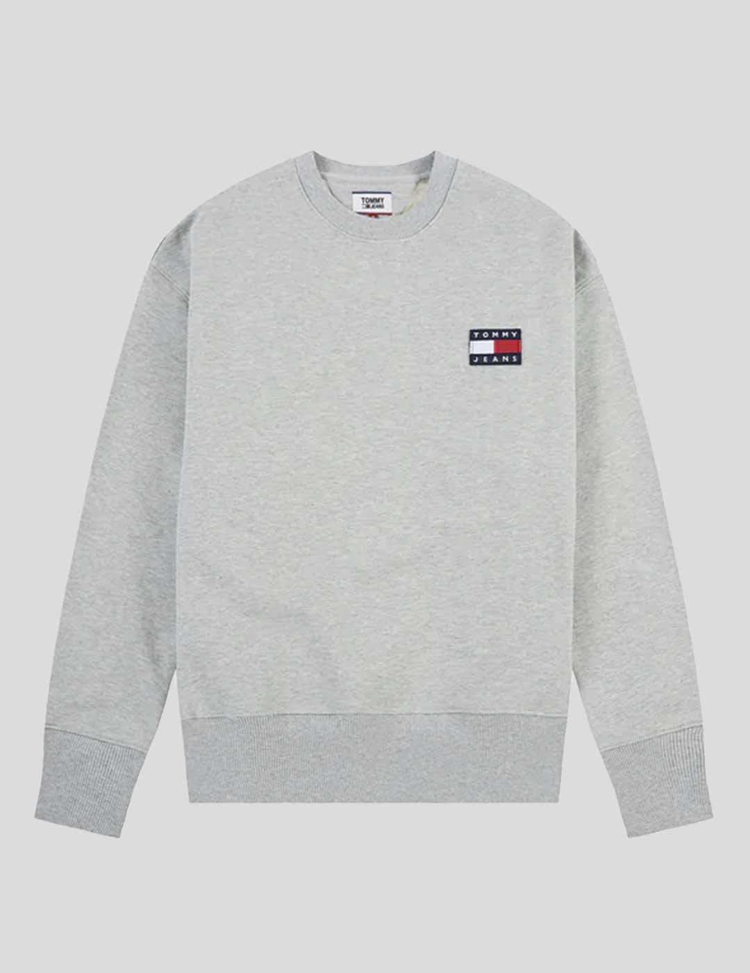SUDADERA TOMMY JEANS TOMMY BADGE CREW GREY HEATHER