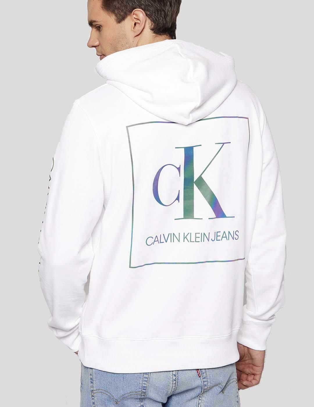 SUDADERA CALVIN KLEIN IRIDESCENT HOODIE BRIGHT WHITE