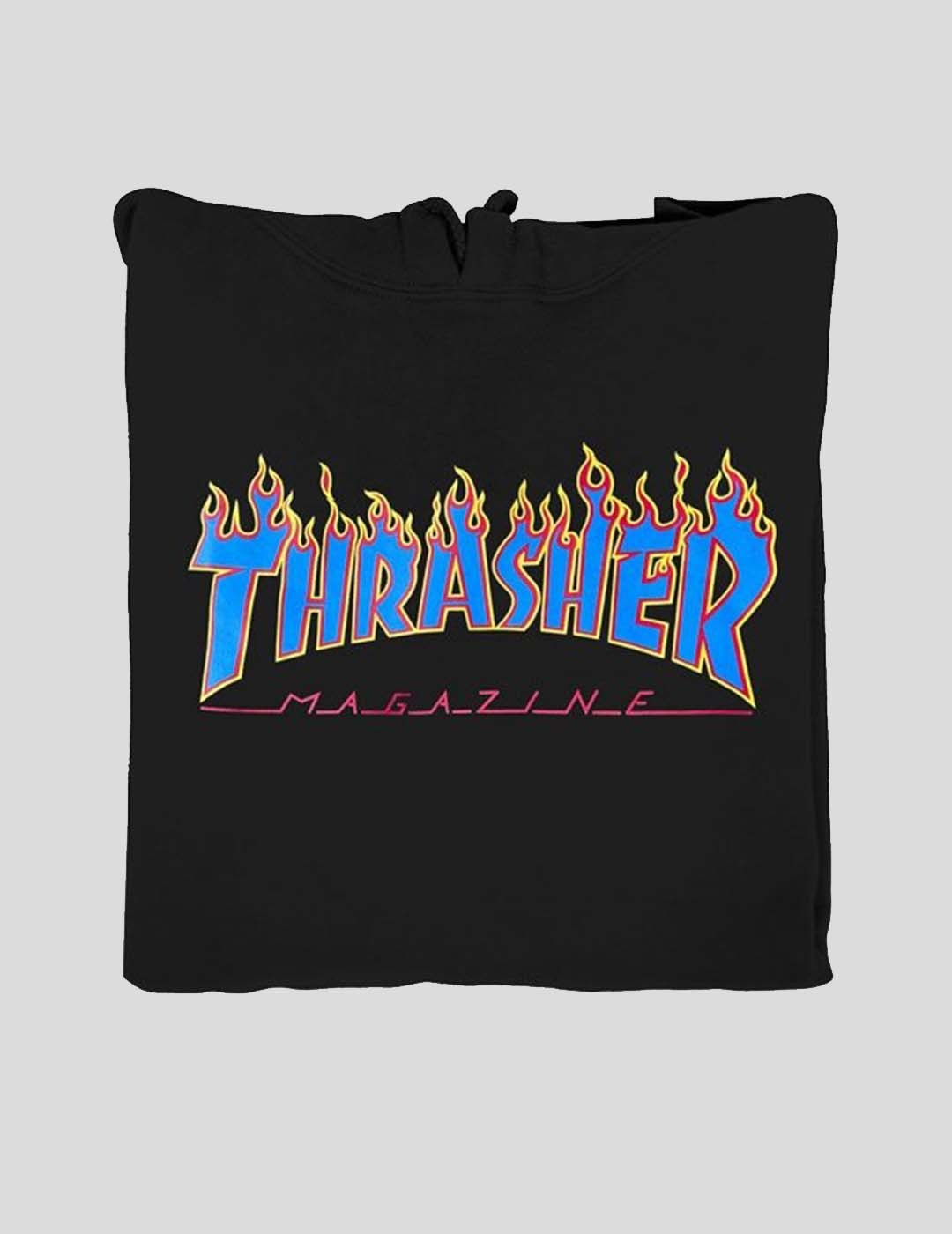 SUDADERA THRASHER FLAME LOGO HOOD BLACK BLUE