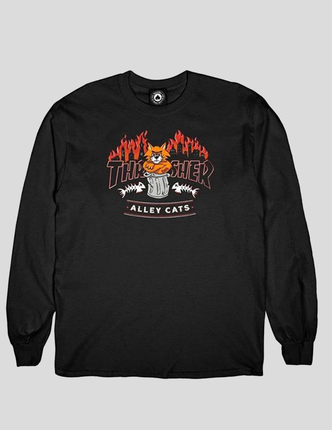 CAMISETA THRASHER ALLEY CATS LONG SLEEVE TEE BLACK